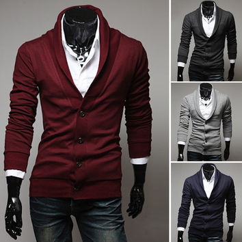 Mens Casual Cardigan Sweater