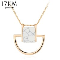 17KM Hot New Maxi Women Chocker Jewelry Gold Color Casual Fashion 2016 Sweater Stone Pendant Statement Necklaces for Women
