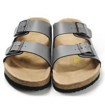 Birkenstock Leather Cork Flats Shoes Women Men Casual Sandals Shoes Soft Footbed Slippers-202