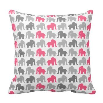 Pink And Grey Elephant Pattern Throw Pillows