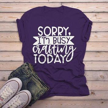 Men's Funny Craft T Shirt Sorry, Busy Crafting Shirts Gift Idea TShirt Crafter Tee