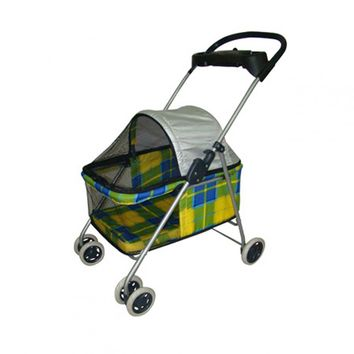 New BestPet Yellow Plaid Posh Pet Stroller Dogs Cats w/Cup Holder