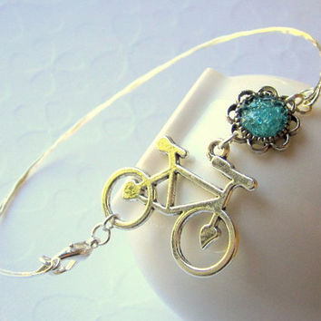 Bicycle Anklet Ankle Bangle Bike Ankle Bracelet Silver Bike Charm Anklet Bangle Repurposed Glass Mint Green Thin Silver Bangle Bracelet