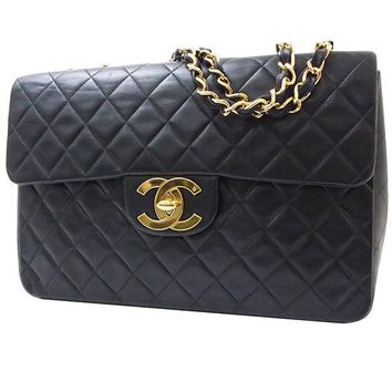 Auth CHANEL Double chain shoulder bag Matelasse Quilted CC Black GHW Vintage BIG