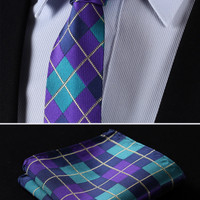 "TC4033Q7 Aqua Purple Check 2.75"" 100%Silk Woven Slim Skinny Narrow Men Tie Necktie Handkerchief Pocket Square Suit Set"