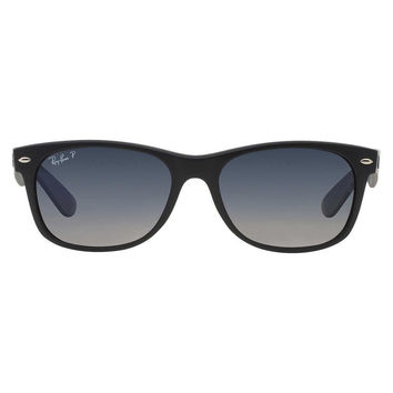 Ray Ban New Wayfarer Sunglass Matte Black Blue Gradient Polarized RB 2132 601S78