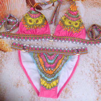 2014 Women Bikini swimwear many color design print flower Free Shipping Sexy Swimsuit gift New !