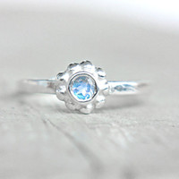 Moonstone Ring Little Flower Ring Rainbow Moonstone Ring Petite Ring June Birthstone Ring Size 5 Sterling Silver Stacking Ring