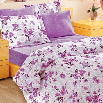 Custom Queen or Full Size Lilac Plaid, Checked  Floral Branch Spring Flowers Printed Cotton Bedding Set, 6 pieces