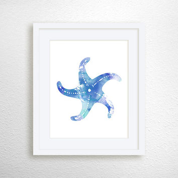 Starfish Art Print, Nautical Home Decor, Beach Art Print, Nursery Art Print, Watercolor Starfish, Starfish Painting, Bathroom Decor