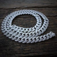 Iced Out White Gold Cuban Chain (12mm)