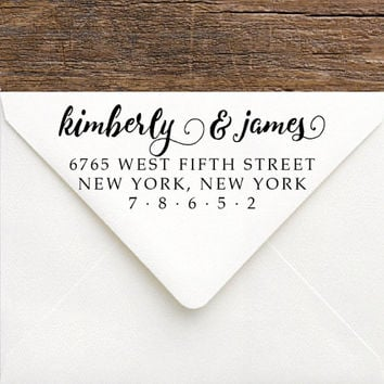 Custom Address Stamp - Handwriting Modern Address Stamp for Wedding Invitations, Save The Date Envelopes - Gift Idea for Bridesmaids & Bride