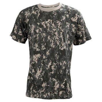 DCCKFS2 Summer Outdoors Hunting Camouflage T-shirt Men Breathable Army Tactical Combat T Shirt Military Sport Camo Outdoor Camp Tees ACU