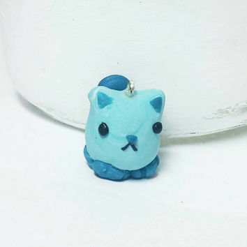 Cat charm, Clay cat charm, Blue cat charm, Cat stitch marker, Cat keychain, Charm for cat owner, Cute animal charm, Polymer clay charm, Cats