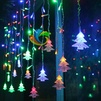 Christmas Tree Shaped String Fairy Light 96 Led Eu&Us Plug  Chrismas Led Light Lighting 2017 New Year Lamp Decoration