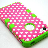 Green Soft Skin Case Hybrid Pink White Polka Dots Hard Cover iPhone 4 4S Phone