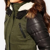 Vero Moda Parka With Faux Leather Sleeves