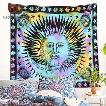 Colorful  Psychedelic Celestial Indian Sun Tapestry