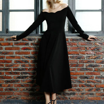 Black Off-Shoulder Long Sleeve Pleated Midi Dress