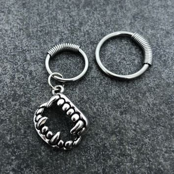 316L Surgical Stainless Solid Steel Vampire Fangs 16g, spring captive ring, Helix, cartilage, tragus earring