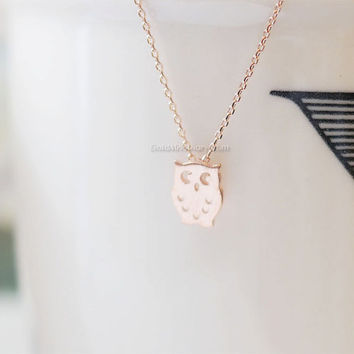 tiny Rose Gold owl necklace, tiny owl necklace Rose Gold, simple necklace, dainty, cute, animal necklace, necklace for women, birthday gift.