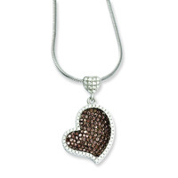 Sterling Silver & CZ Brilliant Embers Heart Necklace QMP810