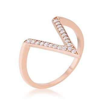 Michelle 0.2ct Cz Rose Gold Delicate V-shape Ring (size: 05) (pack of 1 ea)