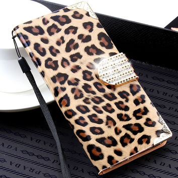 FLOVEME For iPhone 7 6 6S Plus 5 5S SE Luxury Wallet Leopard Flip Leather Case For iPhone 6 6S 7 4.7 /7 Plus 5S SE Diamond Cover