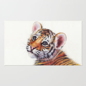 Tiger Cub Watercolor Painting Rug by Olechka