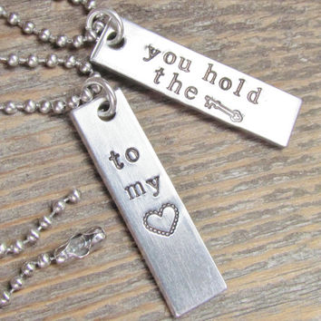 Set of 2 Necklaces You Hold The Key To My Heart Hand Stamped Couples Jewelry Friends Charm Aluminum Tag Stainless Steel Chain