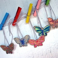 ooak labels tags favor Handmade Gift HangTags handpainted Gift Label Thank You Tag Wedding Shabby Chic-M.me BUTTERFLY (set of 20)