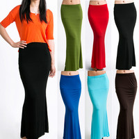 Plain Stretchable Maxi Trumpet Skirts