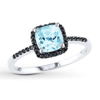 Aquamarine Ring 1/8 ct tw Black Diamonds 10K White Gold