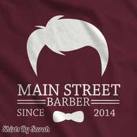 Main Street Barber T-Shirt - Shirts For Hair Stylists Cuts Bow Tie Personalized TShirts For Men