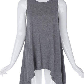 Ladies loose sleeveless crew neck irregular hem cotton tops sleeveless summer t shirts tops high stretchy femme plus size