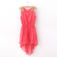 New Lace Trim Water Melon Chiffon Chic Dress