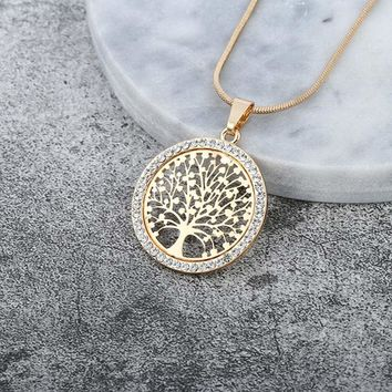 Hot Tree of Life Crystal Round Small Pendant Necklace Gold Silver Colors Bijoux Collier Elegant Women Jewelry Gifts Dropshipping Macchar Cosplay Catalogue