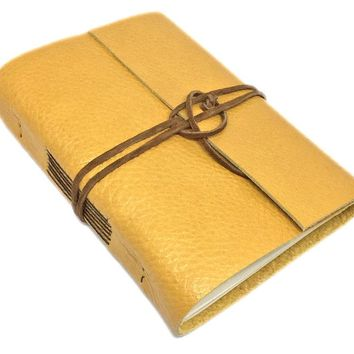 Golden Yellow Leather Journal with Blank Paper - Handmade Journal - Bound - Diary - Travel Journal -Ready to Ship - Prayer Journal