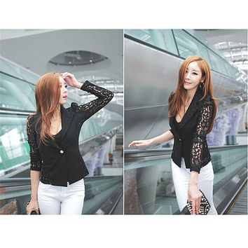 Shocking Show 1PC Sexy Women Long Sleeve Lace Crochet Small Jacket