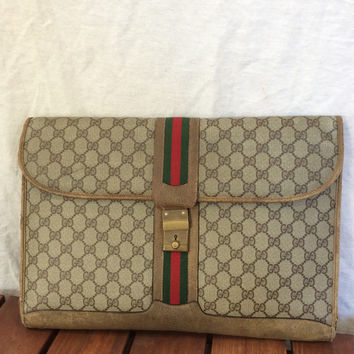 Vintage Gucci GG briefcase notebook document case