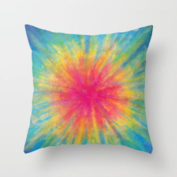 Tie Dye Rainbow Vibrant Saturated Painting Drawing Coloring Throw Pillow by AEJ Design