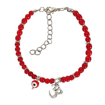 Evil Eye ProtectiOM Tibetan Spiritual Amulet Royal Red Accents Magic Lucky Charms Bracelet