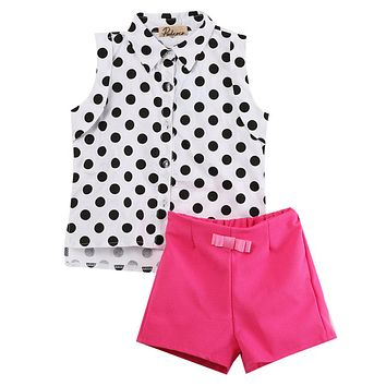 Summer Fashion Toddler Girls Clothes Children's Clothing Kids Sets Sleeveless Dot Shirts + Rose Red Shorts 2pcs Baby Suits