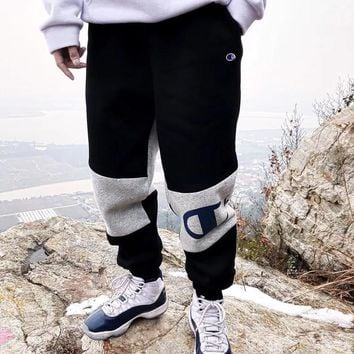 """""""Champion"""" Men Loose Thickened Multicolor Letter Logo Print Sweatpants Leisure Pants Trousers"""