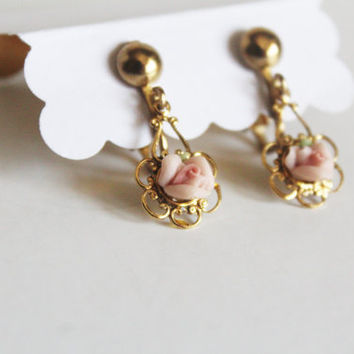 Vintage Celluloid Pink Rose Gold Plated Clip-on Earrings