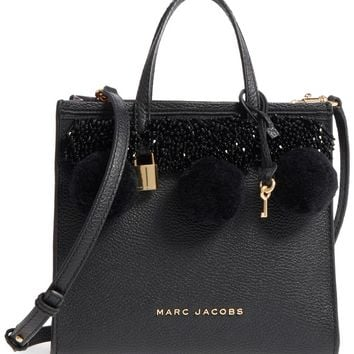 MARC JACOBS The Grind Mini Pompom Leather Tote | Nordstrom