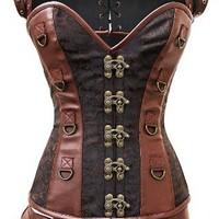 Camellias Women's Retro Goth Brocade Steampunk Overbust Corset with Jacket and Blet