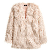 H&M - Faux Fur Jacket - Dusty pink - Ladies