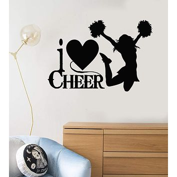 Vinyl Wall Decal Cheerleaders Quote Sports Fan Cheerleading Stickers Unique Gift (495ig)