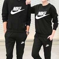 Nike Fashion Women Men Casual Cotton Round Collar Simple Print Long Sleeve Two-Piece Sportswear Black High Quality